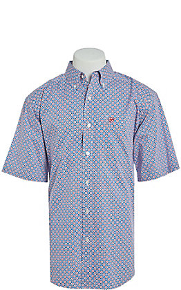 Ariat Men's Stretch Odden Blue and Red Print L/S Western Shirt
