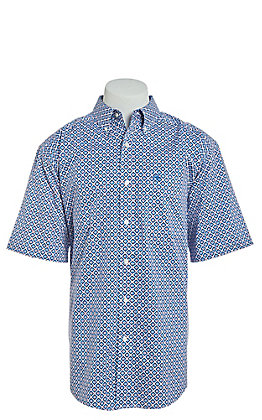 Ariat Men's Stretch White Phoenix Print Short Sleeve Western Shirt