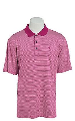 Ariat Men's Micro Stripe TEK Berry Juice Heat Series Polo Shirt