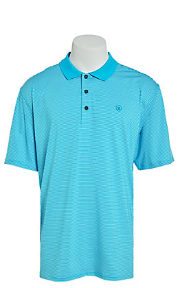 Ariat Men's Micro Stripe TEK Turquoise Reef Heat Series Polo Shirt