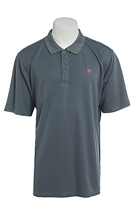 Ariat Men's Tek Heat Series Weathered Slate Short Sleeve Polo Shirt