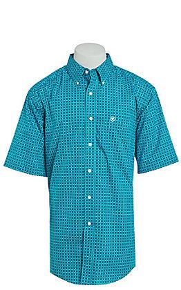 Ariat Men's Blue Geo Print Short Sleeve Western Shirt