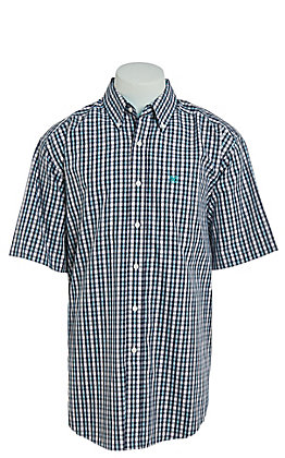 Ariat Men's Blue & White Multi Plaid Short Sleeve Western Shirt