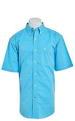 Ariat Men's Aquarius Blue Plaid Short Sleeve Stretch Western Shirt