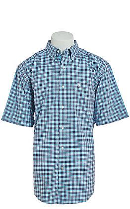 Ariat Men's Purple And Blue Plaid Short Sleeve Stretch Western Shirt