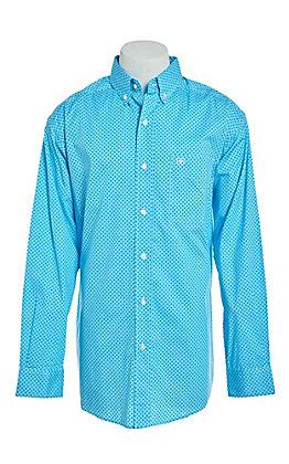 Ariat Men's Stretch Molson Blue Print Long Sleeve Western Shirt