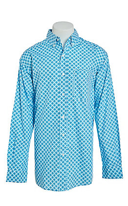a8332fefa6 Ariat Men s Moran Turquoise and White Medallion Print Long Sleeve Western  Shirt