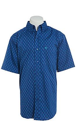 Ariat Men's Stretch Blue Newburn Print Short Sleeve Western Shirt