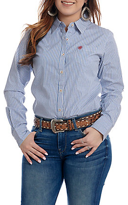 Ariat Women's Blue and White Striped Button Up Stretch Western Shirt