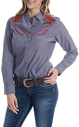 Ariat Women's Denim REAL Lively Rose Snap Western Shirt