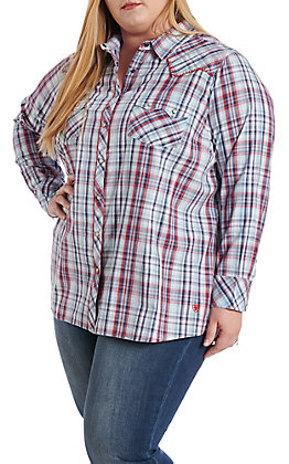 Ariat Women's Blue and Red Plaid Pearl Snap Western Shirt - Plus Size