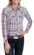 Ariat Women's Blue and Red Plaid Pearl Snap Western Shirt