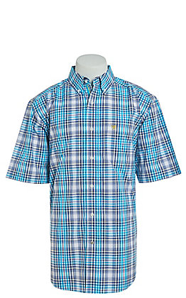Ariat Men's Turquoise Plaid Short Sleeve Western Shirt