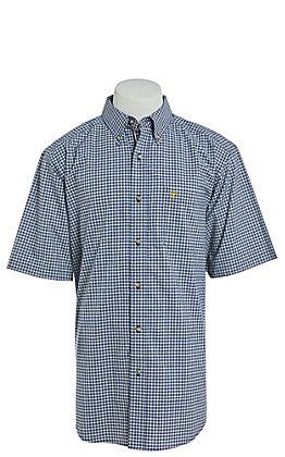 Ariat Men's Navy Mini Plaid Short Sleeve Western Shirt