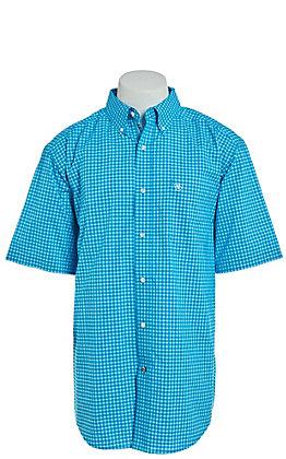 Ariat Men's Turquoise Mini Plaid Short Sleeve Western Shirt