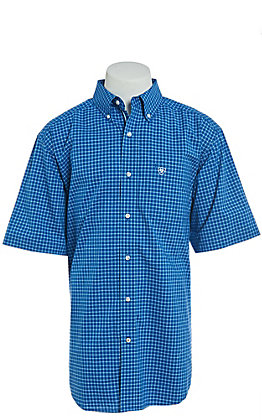 Ariat Pro Series Men's Naylon Plaid Short Sleeve Western Shirt