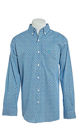 Ariat Men's Stretch Neaton White Print Long Sleeve Western Shirt