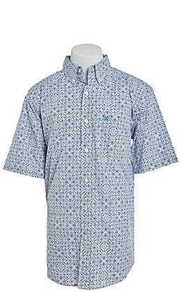 Ariat Men's White & Blue Medallion Print Short Sleeve Western Shirt