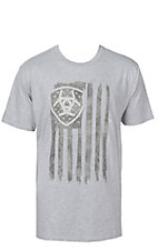 Ariat Men's Grey with Charcoal Vertical Logo Flag Short Sleeve Tee