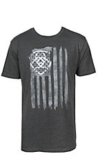 Ariat Men's Heather Charcoal with Grey Vertical Logo Flag Short Sleeve Tee
