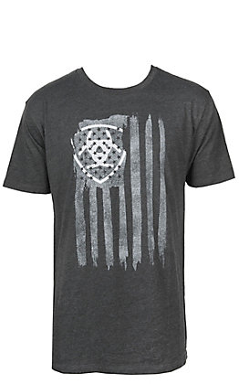 Ariat Men's Heather Charcoal with Grey Vertical Logo Flag Short Sleeve T-Shirt