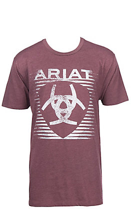 Ariat Men's Heather Burgundy with White Shield Logo Short Sleeve T-Shirt