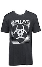 Ariat Men's Heather Charcoal with White Shield Logo Short Sleeve T-Shirt
