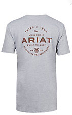 Ariat Men's Grey with Burgundy Seal Logo Short Sleeve Tee