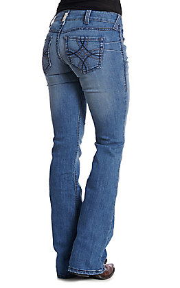 Ariat R.E.A.L. Women's Medium Wash Mid Rise Stretch Shawna Boot Cut Jeans
