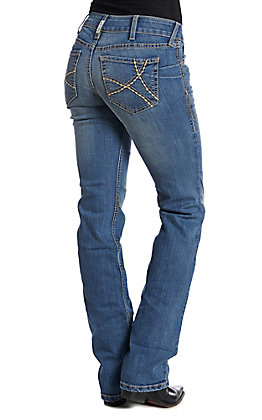 Ariat R.E.A.L. Women's Medium Wash Mid Rise Stretch Remi Boot Cut Jeans
