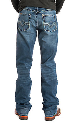 Ariat Cavender's Exclusive Men's M4 Black Summit Dark Wash Low Rise Stretch Boot Cut Jeans