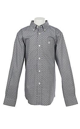 Ariat Boys Cavender's Exclusive Stretch Evander Geo Print L/S Western Shirt