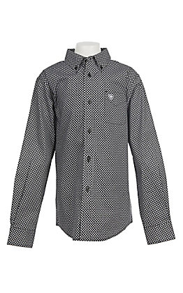 Ariat Boys Cavender's Exclusive Stretch Jonah Black Print L/S Western Shirt