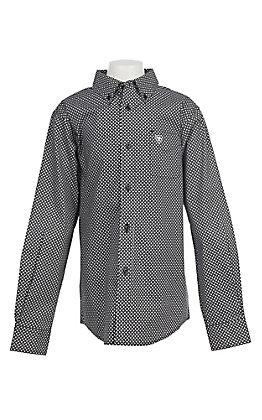 Ariat Boys Cavender's Exclusive Stretch Jonah Black Print L/S Western Shirt