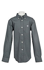 Ariat Boys Cavender's Exclusive Stretch Parton Grey Print L/S Western Shirt