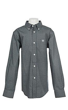 Ariat Boys Cavender's Exclusive Stretch Parton Grey Print L/S Western Shirt