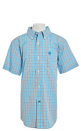 Ariat Vinny Cavender's Exclusive Boys' Turquoise Plaid Short Sleeve Western Shirt