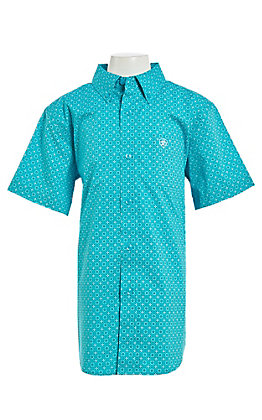 Ariat Benny Boys' Turquoise Medallion Print Stretch Short Sleeve Western Shirt