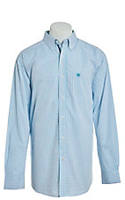 Ariat Men's Cavender's Exclusive Aiden Blue Plaid Long Sleeve Stretch Western Shirt
