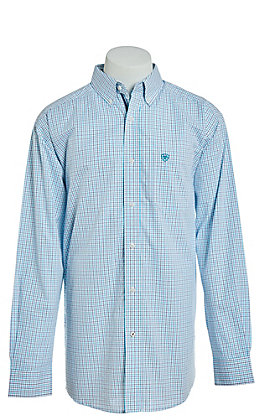 Ariat Aiden Cavender's Exclusive Men's Blue Plaid Long Sleeve Stretch Western Shirt