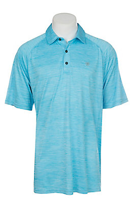 Ariat Charger Cavender's Exclusive Men's Blue Atoll Heat Series Tek Polo Shirt