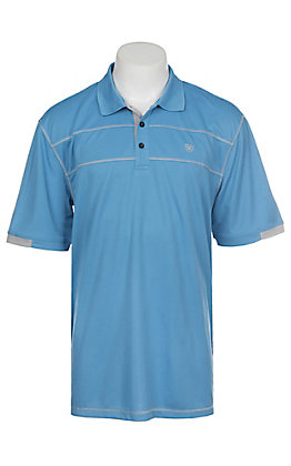 Ariat Men's Cavender's Exclusive Carolina Blue Heat Series Tek Polo Shirt