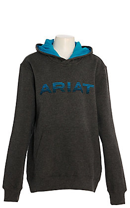 Ariat Boys' Charcoal with Turquoise Logo Hooded Sweatshirt