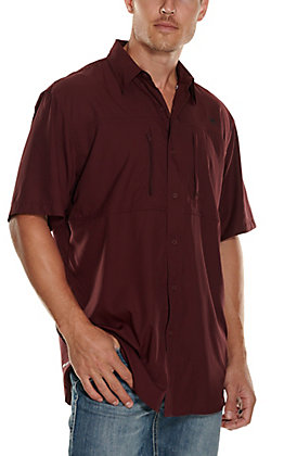 Ariat Men's VentTEK Solid Burgundy Short Sleeve Fishing Shirt - Cavender's Exclusive