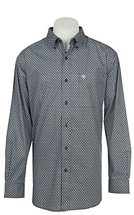 Ariat Azzie Men's Cavender's Exclusive Black Long Sleeve Stretch Print Western Shirt