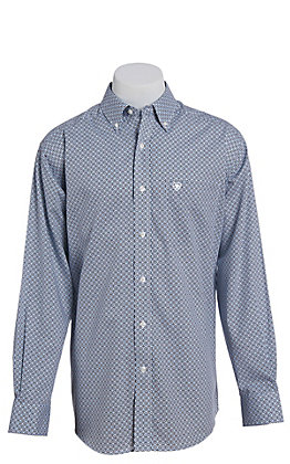 Ariat Cavender's Exclusive Men's White Myers Print Western Shirt