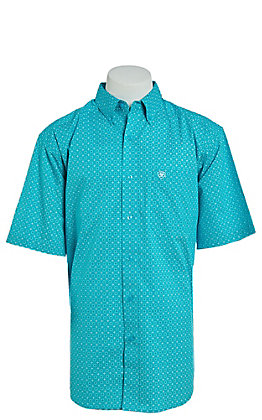 Ariat Men's Turquoise Medallion Print Short Sleeve Stretch Cavender's Exclusive Western Shirt