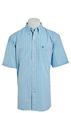 Ariat Men's Vinny Turquoise Plaid Short Sleeve Stretch Cavender's Exclusive Western Shirt