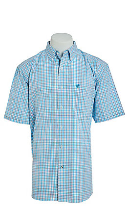Ariat Cavender's Exclusive Men's Vinny Turquoise Plaid Short Sleeve Stretch Western Shirt