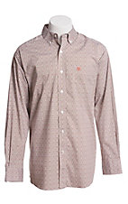 Ariat Men's Brown and White Geo Print Long Sleeve Stretch Cavender's Exclusive Western Shirt